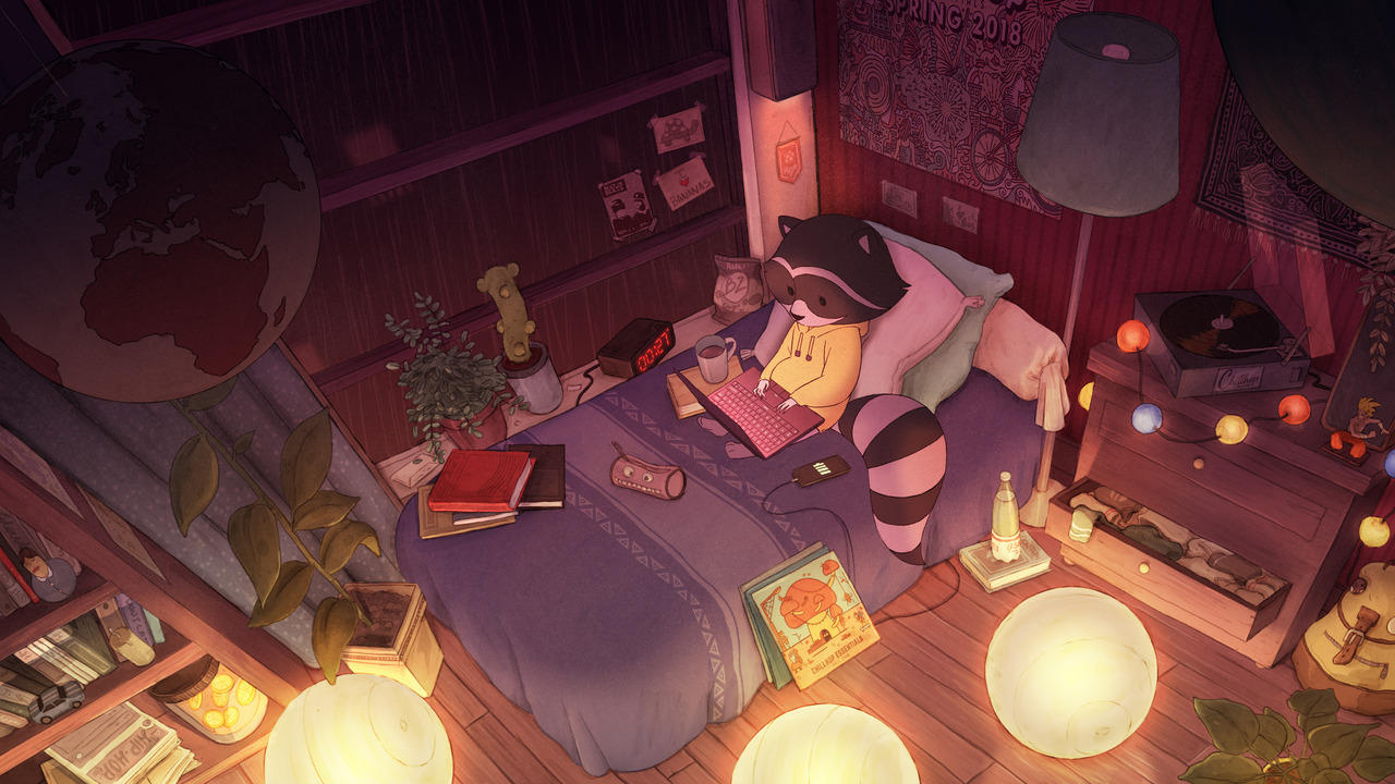 Cartoon racoon in bedroom with laptop and books studying and listening to music
