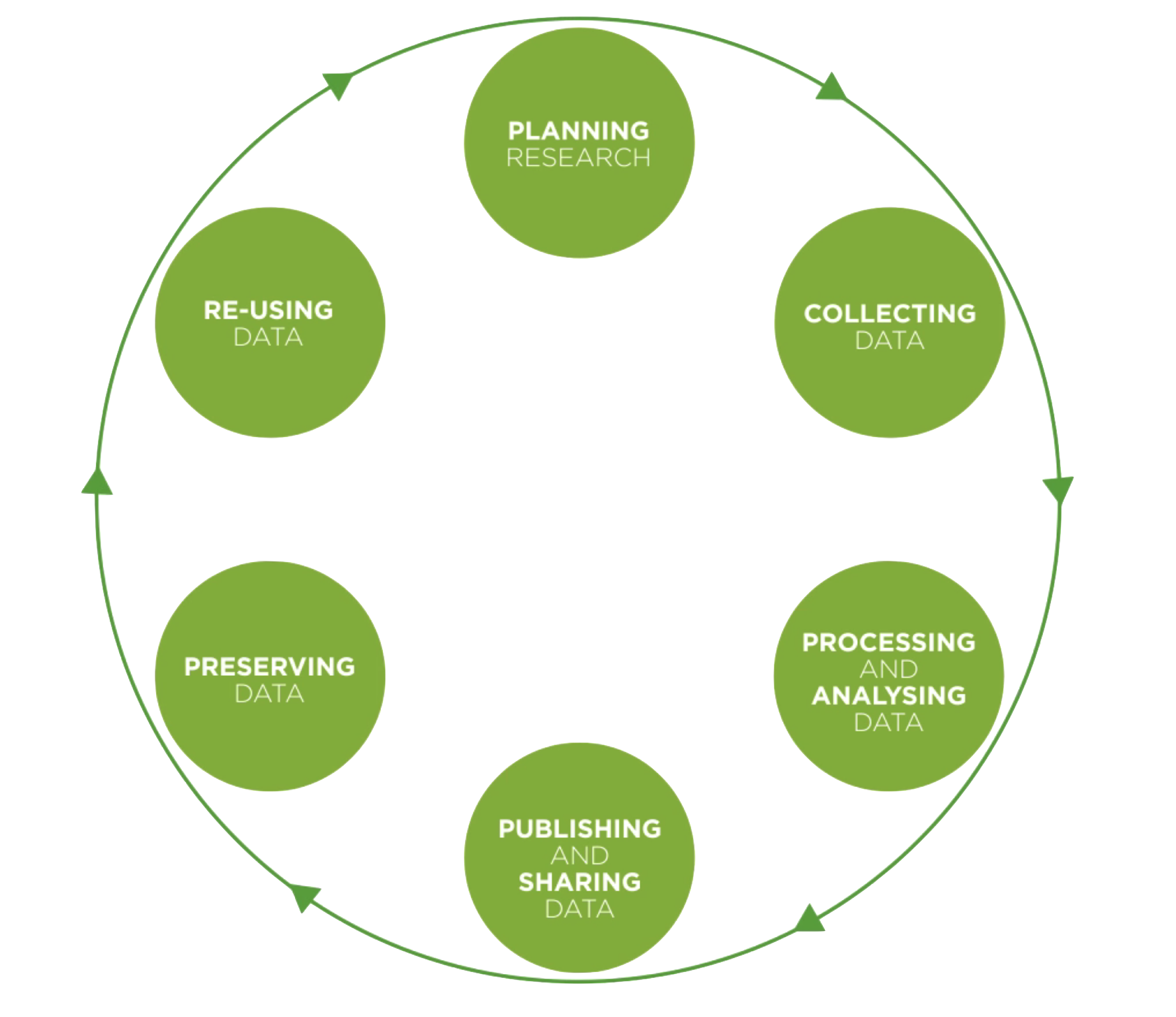 data lifecycle diagram showing cyclical progression from planning research to collecting data to processing and analysing data to publishing and sharing data to preserving data to re-using data and back to planning research