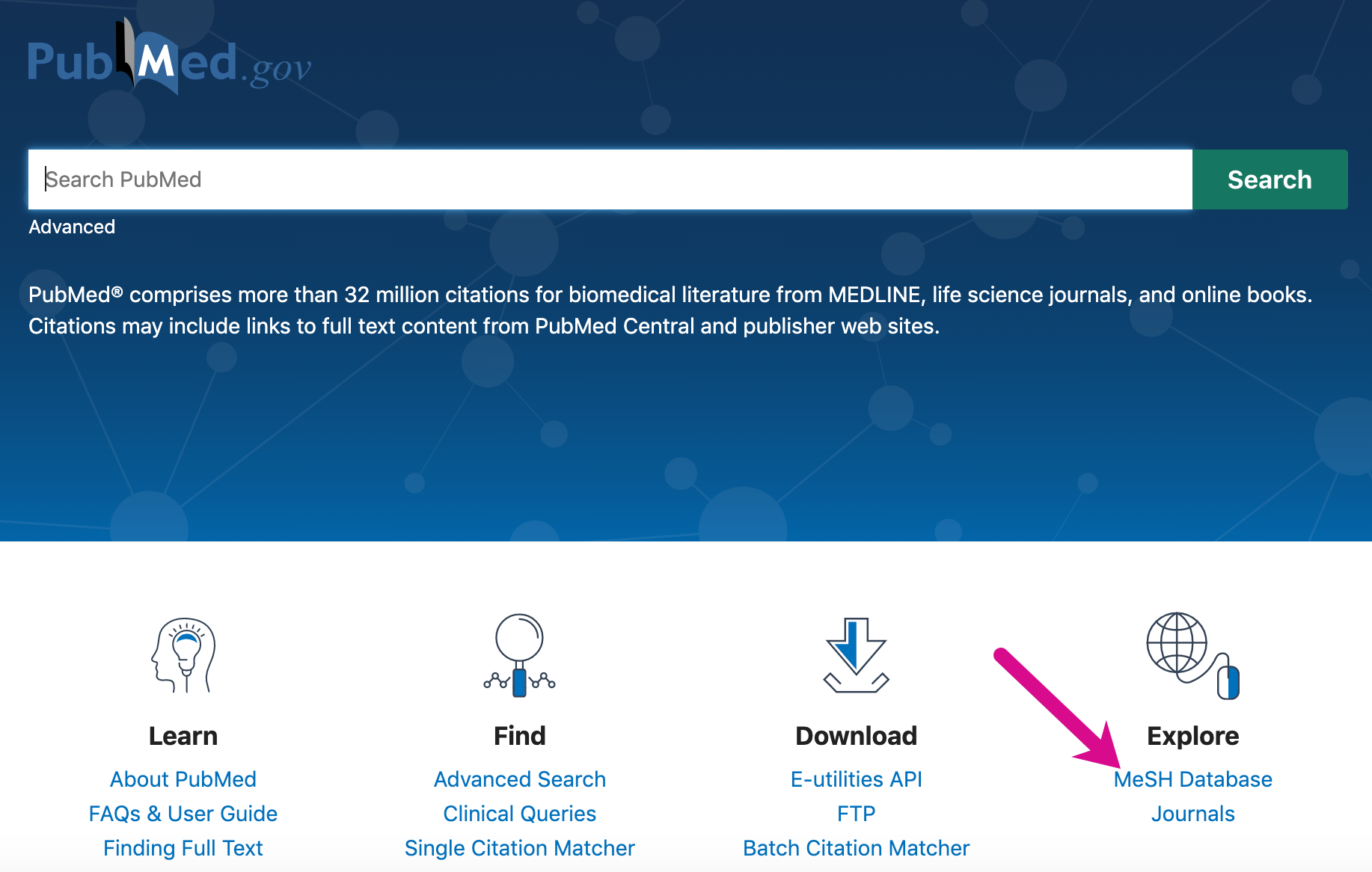 Screenshot pointing out MeSH database link on the PubMed homepage