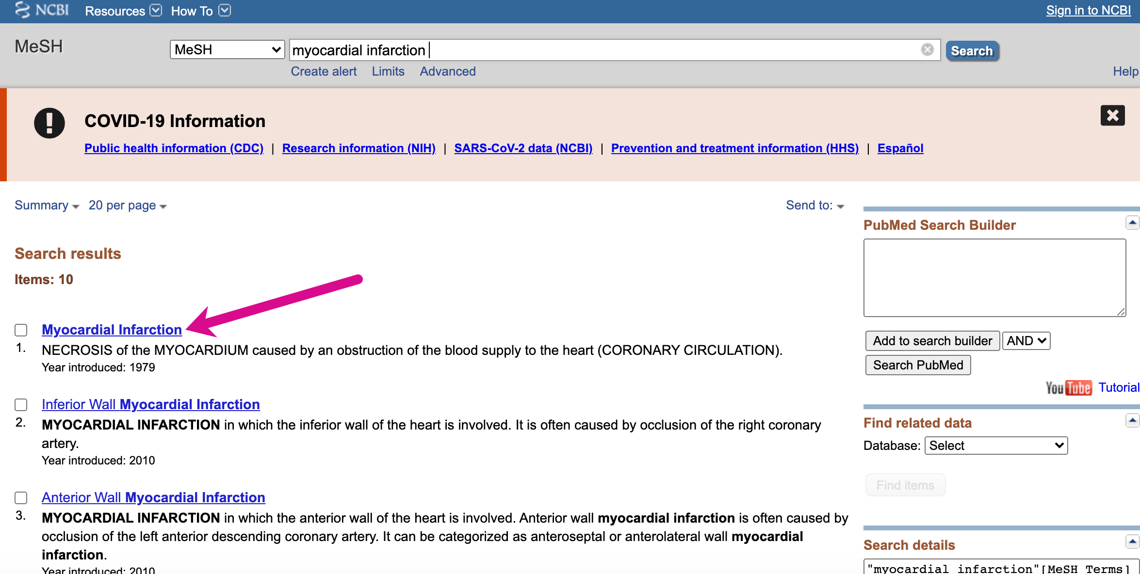"""Screenshot showing search for """"myocardial infarction"""" in the MeSH database, pointing to the most relevant MeSH term in the results, """"Myocardial Infarction"""""""