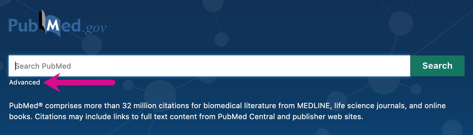 Screenshot pointing out advanced search link on PubMed homepage underneath the basic search box