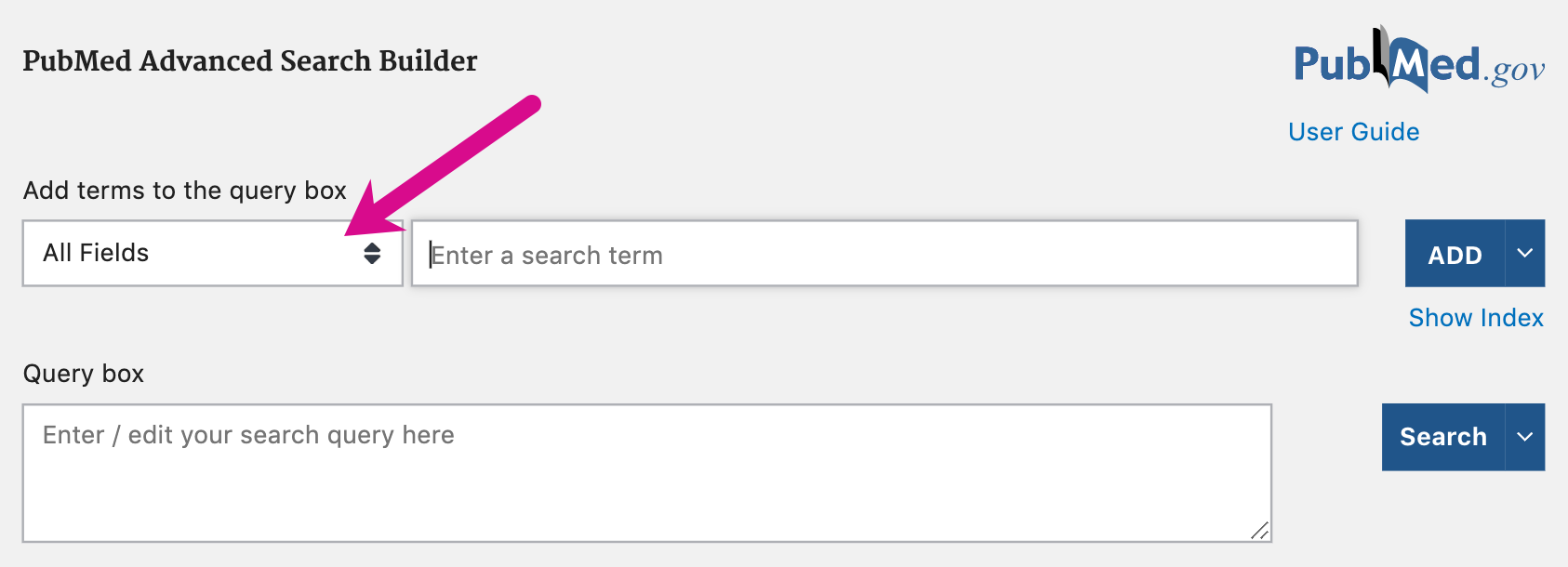 Screenshot pointing out field dropdown menu in advanced search