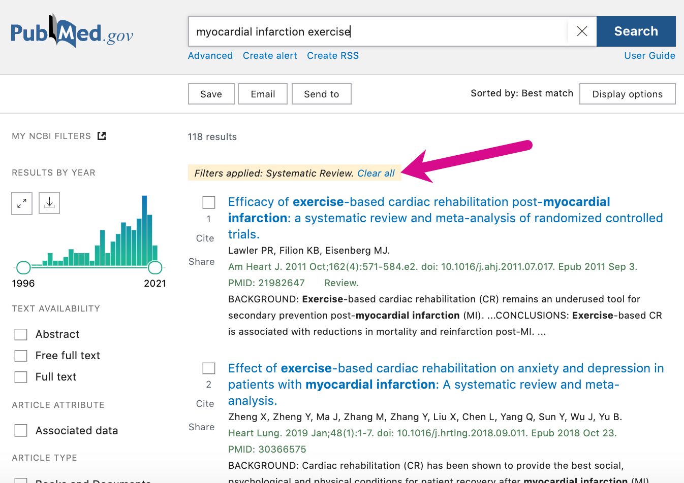 """Screenshot pointing out """"clear filters"""" link above search results"""