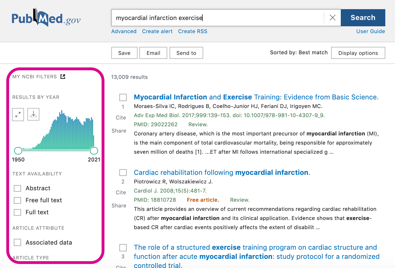 Screenshot showing PubMed's search filters bar to the left on the search results page