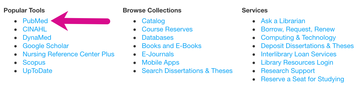 """Screenshot showing PubMed link on the Levy Library homepage under """"Popular Tools"""""""