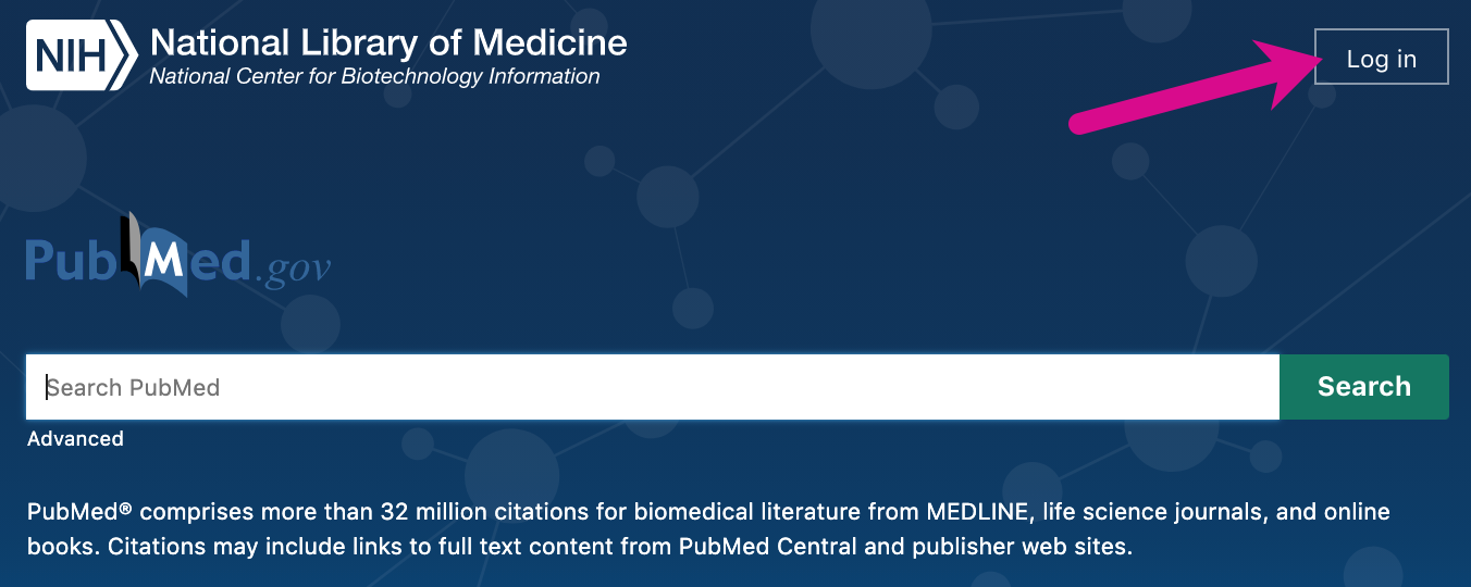 Screenshot pointing out log in button on PubMed homepage