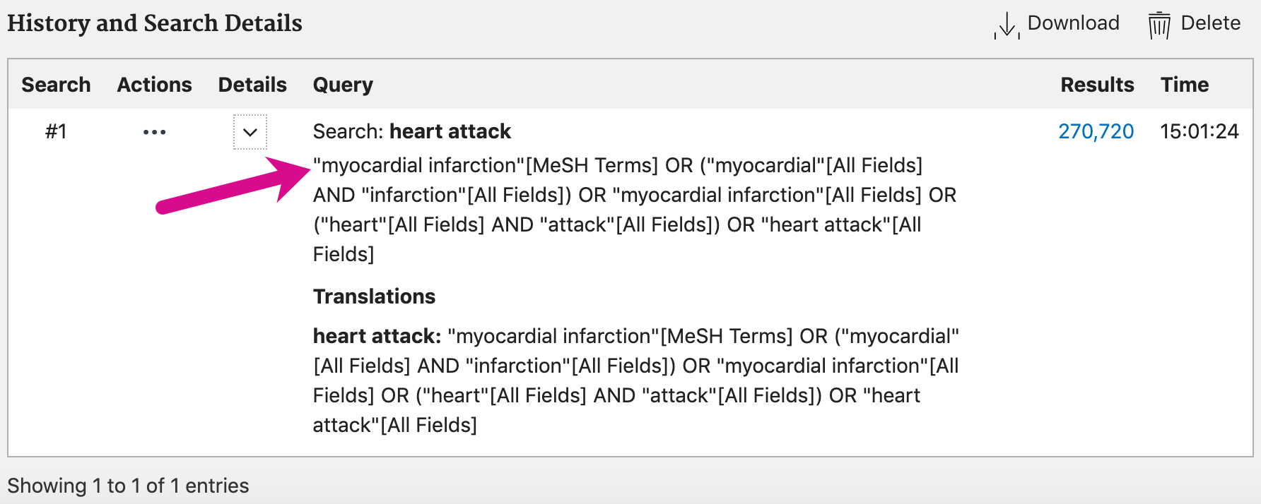 """Screenshot showing search details for the basic search """"heart attack"""""""
