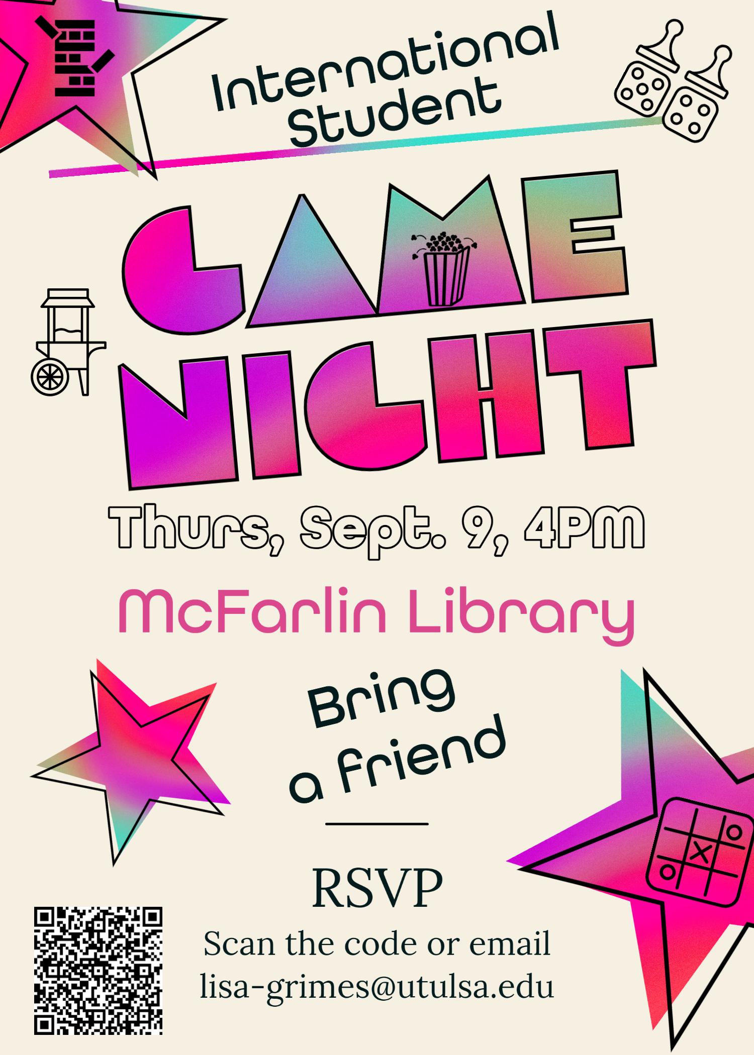 International Students Game Night Flyer