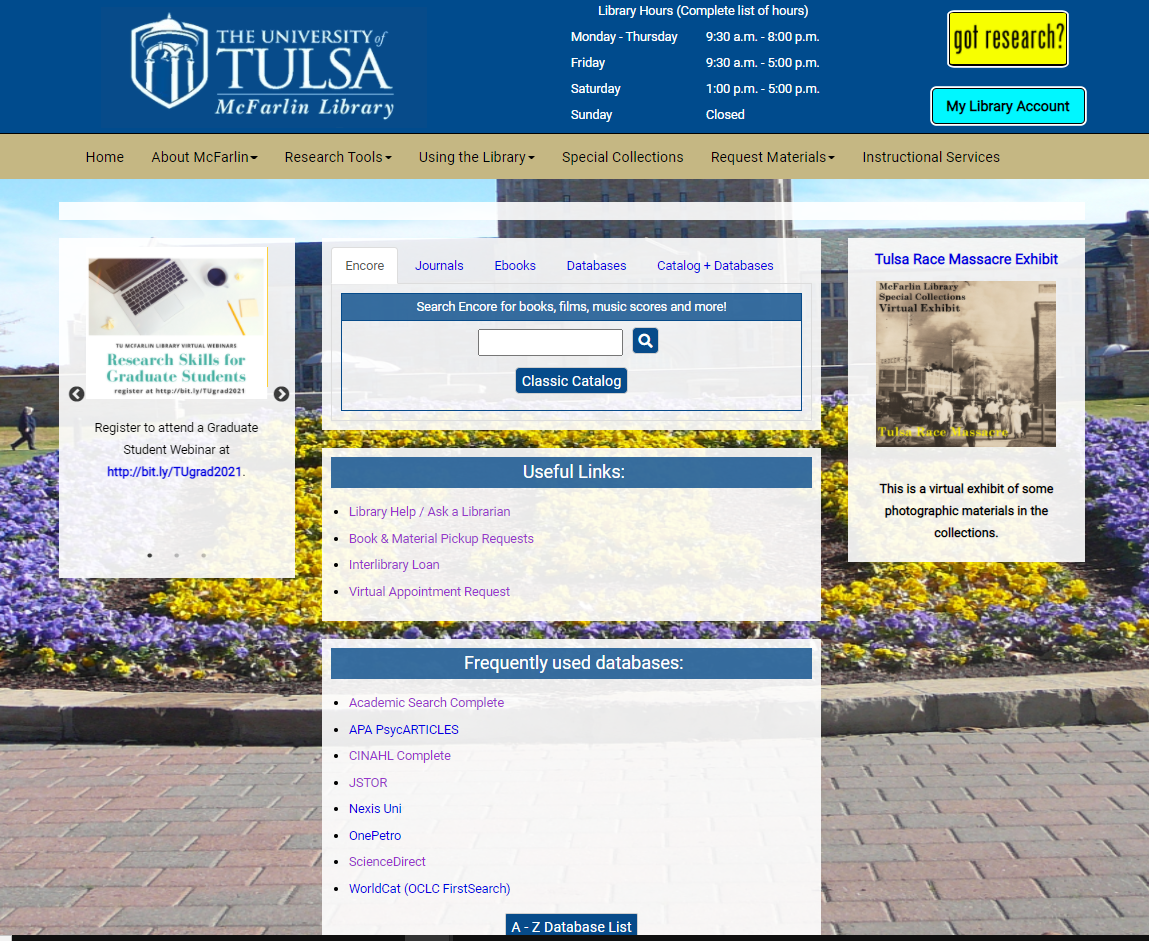 Homepage of the McFarlin Library
