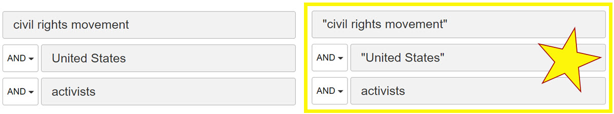 "two database advanced search boxes shown. on left, top box reads civil rights movement, middle box reads united states, and bottom box reads activists. On right, a highlighted image with a star shows top box reading ""civil rights movements"" with quotation marks, middle box reads ""united states"" with quotation marks, and bottom box reads activists"