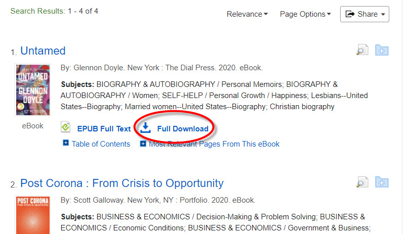 EBSCO ebooks results page displaying the book untamed by Doyle with Full Download circled