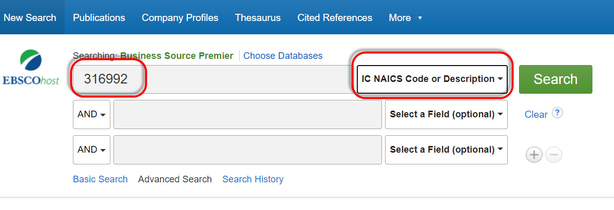 Business Source Premier search page with NAICS code 316992 in first search box, and IC NAICS Code or Description selected