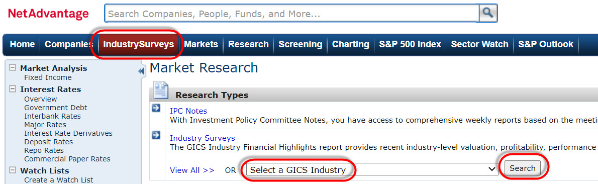 NetAdvantage database with IndustrySurveys selected from top-level navigation and Select a GICS Industry box highlighted