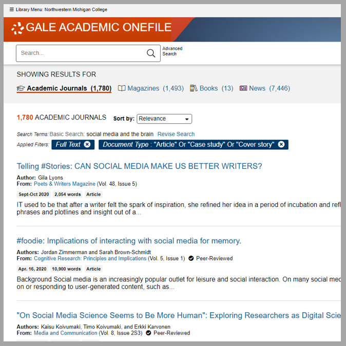 Screen Shot of Gale Academic Onefile Search Results