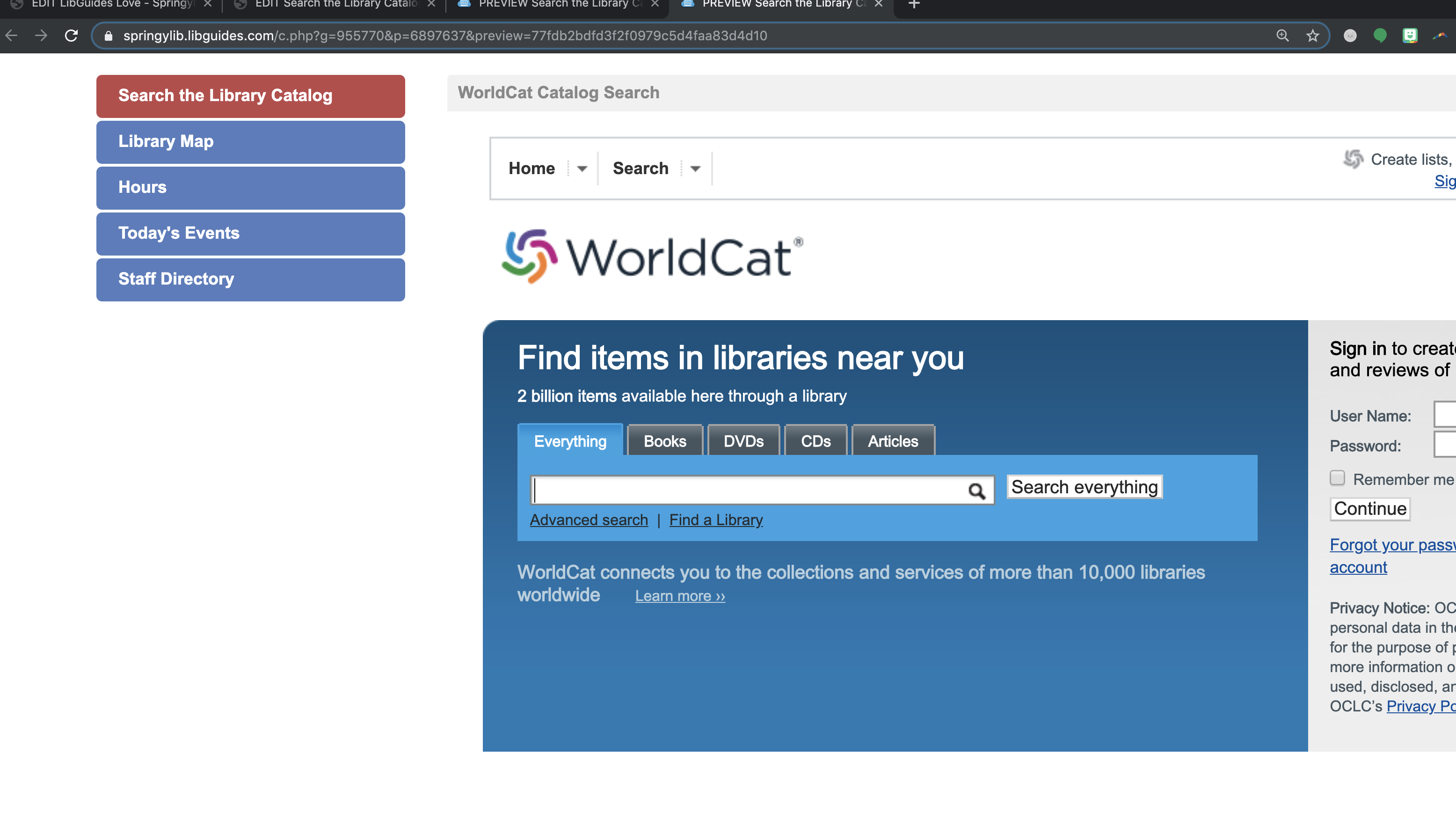 kiosk guide page showing worldcat catalog search