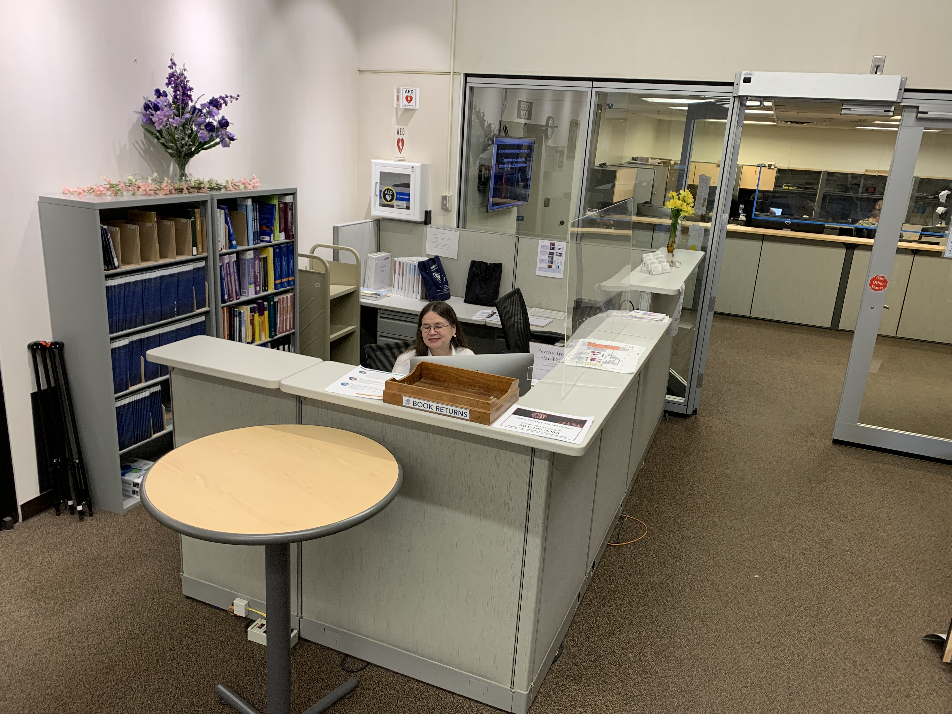 An overhead view of the LRC Circulation Desk.
