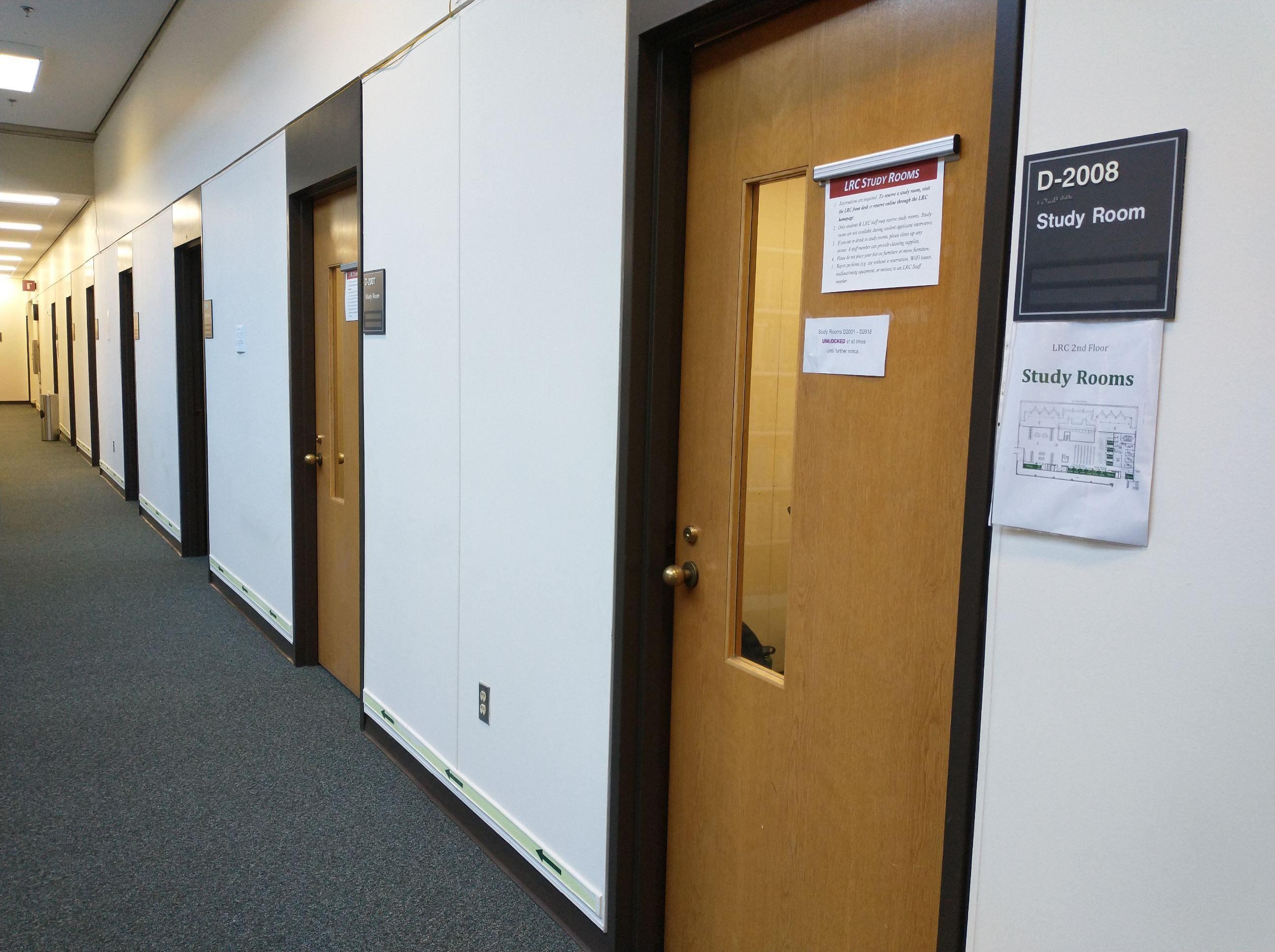The door of a second floor study room.