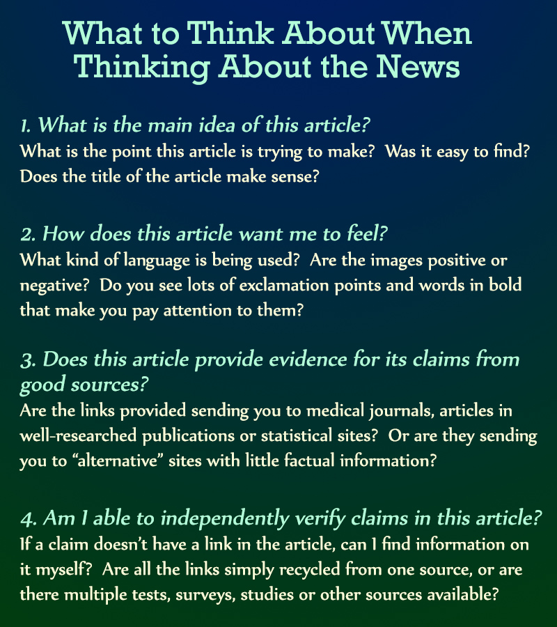 What to think when thinking about the news