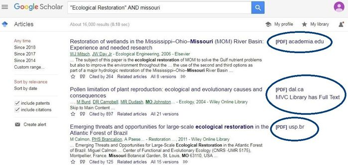 Finding the full text links in Google Scholar