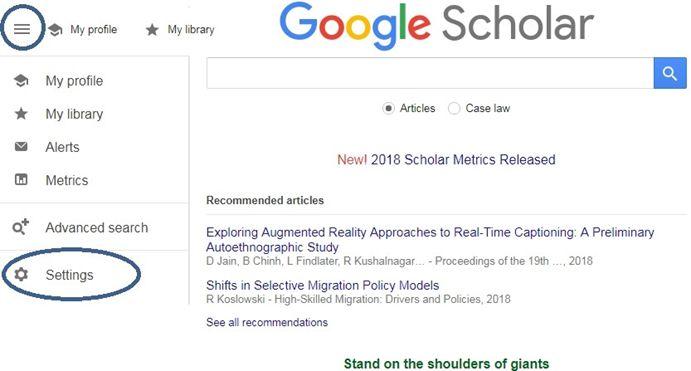 Settings Menu for Google Scholar