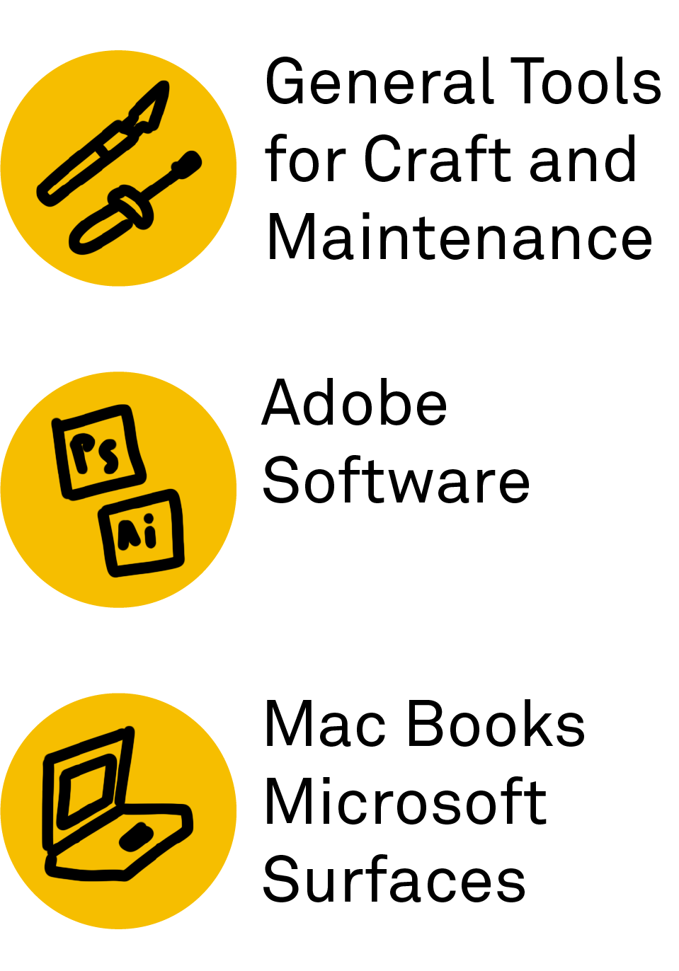 "Icon of tools, Icon of adobe logos,Logo of laptop. Text: ""General Tools for Craft and Maintenance, Adobe Software, MacBooks and Microsoft Tablets"""""