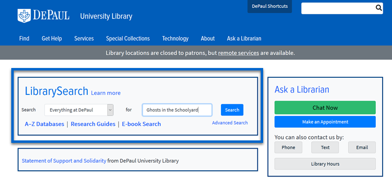 Screenshot of the library homepage showing the LibrarySearch tool.