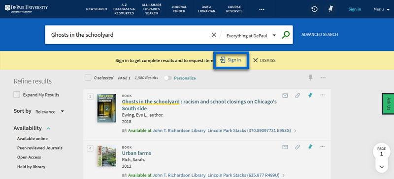 Screenshot of LibrarySearch highlighting the sign-in option