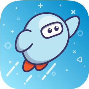 Sora Icon little blue rocket ship person