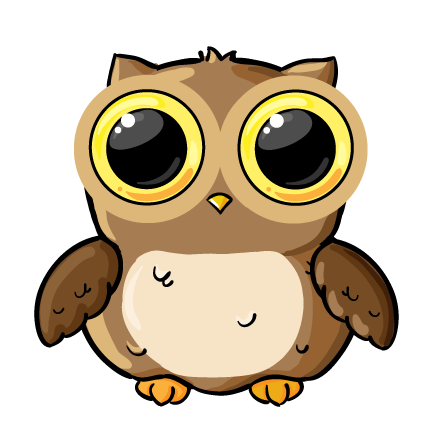 Small cartoon owl with large eyes