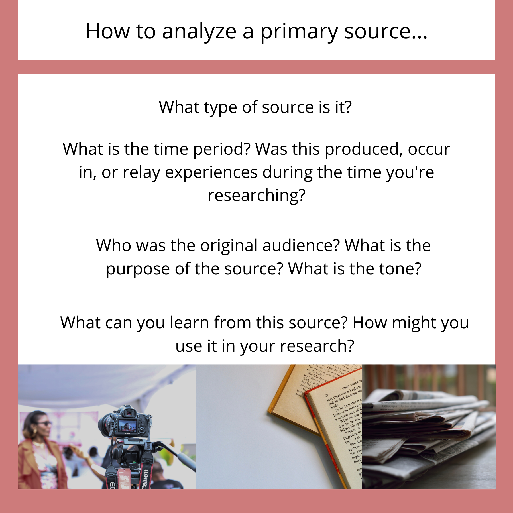 How to analyze a primary source: type of source, time period, original audience, purpose, and tone? What can you learn from this source? How might you use it in your research?