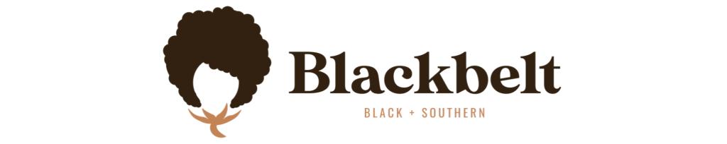 Blackbelt faceless head with afro podcast logo