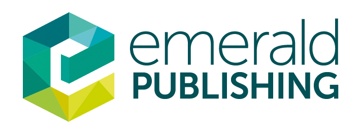 Emerald Publishing letter 'e' segmented with different shades of green logo