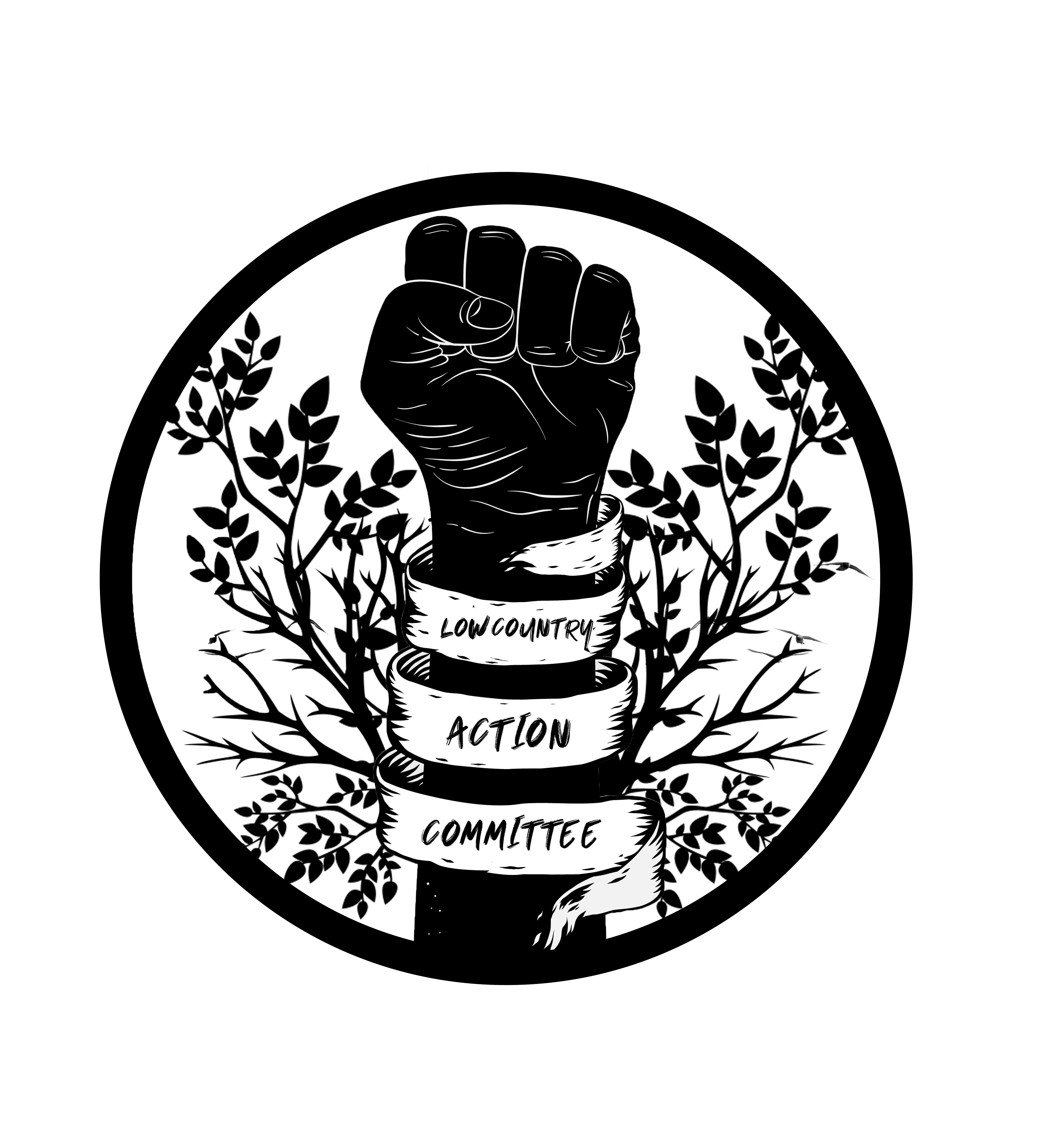 Lowcountry Action Committee fist wrapped in a ribbon surrounded by branches logo