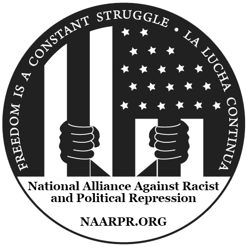 National Alliance for Against Racist and Political Repression hands behind bars stripes of the American flag
