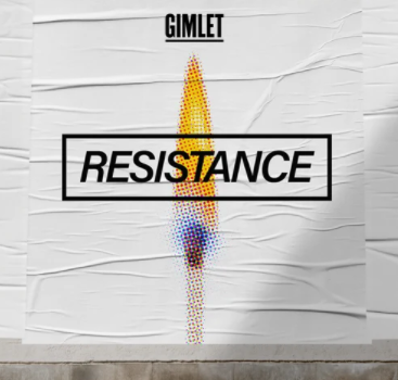 Resistance pixelated lit match against white background logo