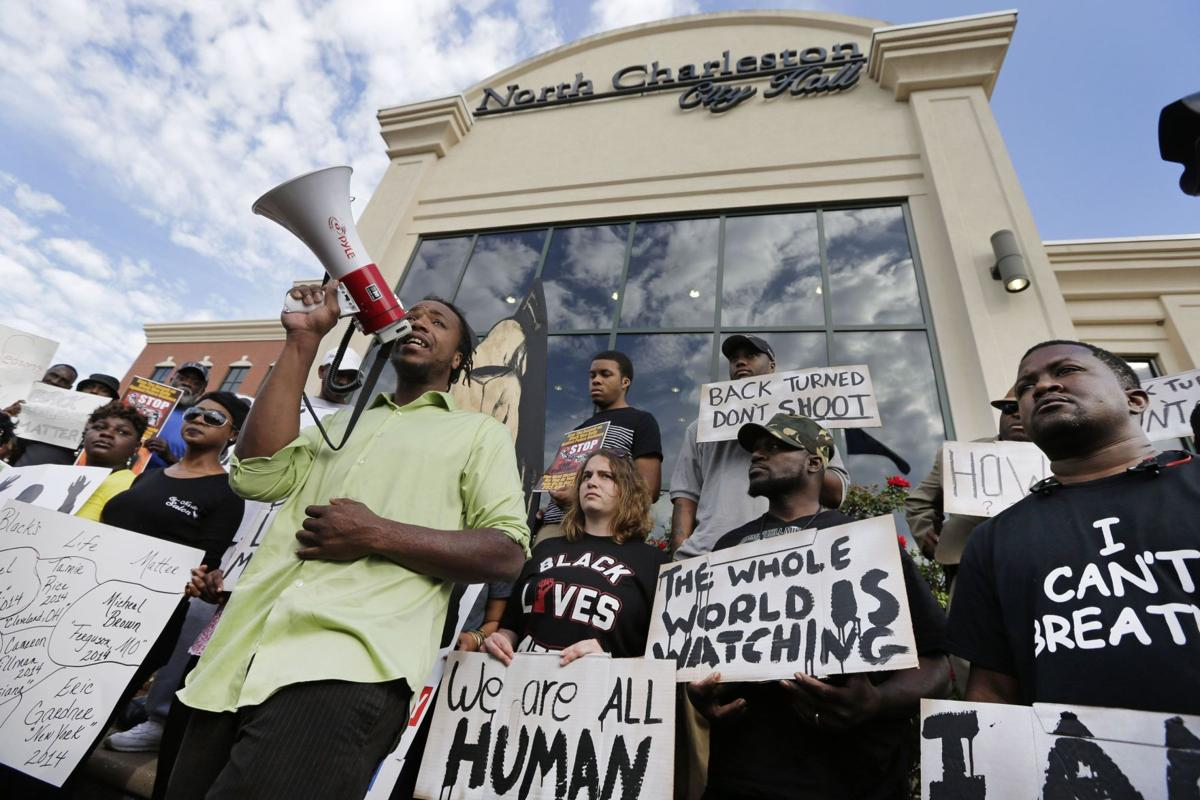 Protesters in front of North Charleston City at Walter Scott Rally