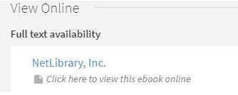 ebooks result from NetLibrary