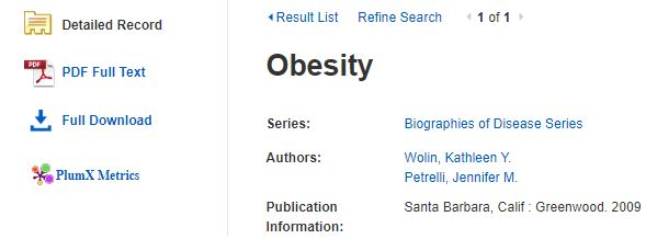 Ebsco ebook detailed record pdf full text full download on obesity