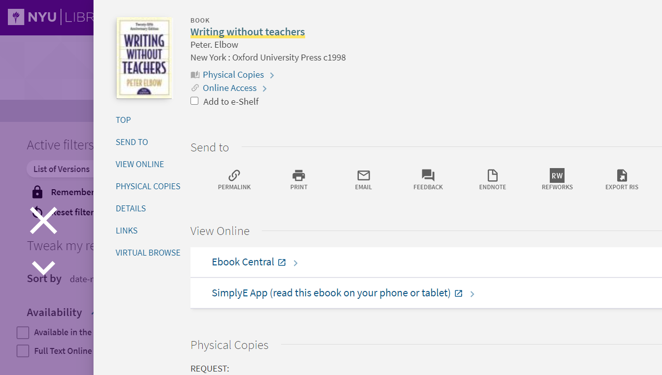 """Screenshot of a record, """"Writing without teachers"""", in the NYU library catalog. The view online section includes a link to add the record to your SimplyE bookshelf."""