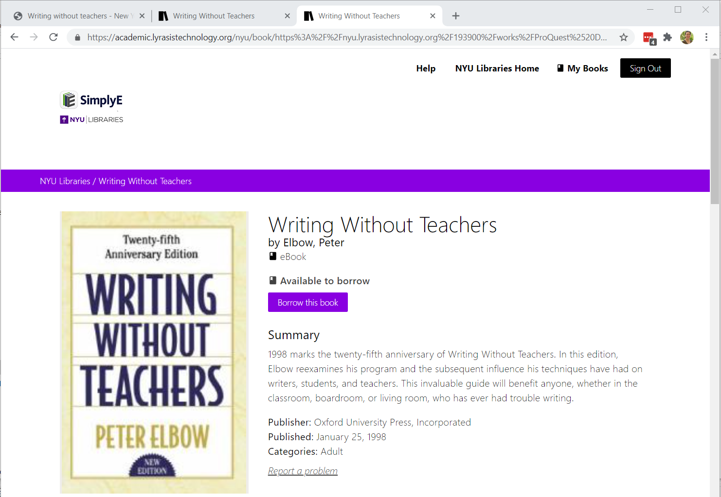 """Screenshot of the SimplyE landing page for a specific record """"Writing without Teachers"""". The button """"Borrow this Book"""" is available on this page."""