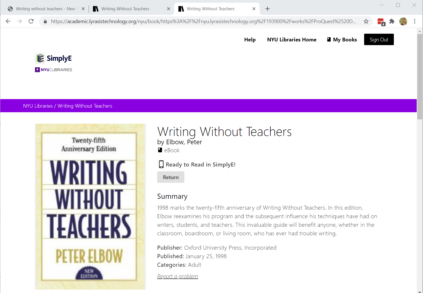 """Screenshot of the SimplyE landing page for a specific record """"Writing without Teachers"""". When the """"Borrow this Book"""" button is clicked, the button is replaced with a button labeled """"Return""""."""