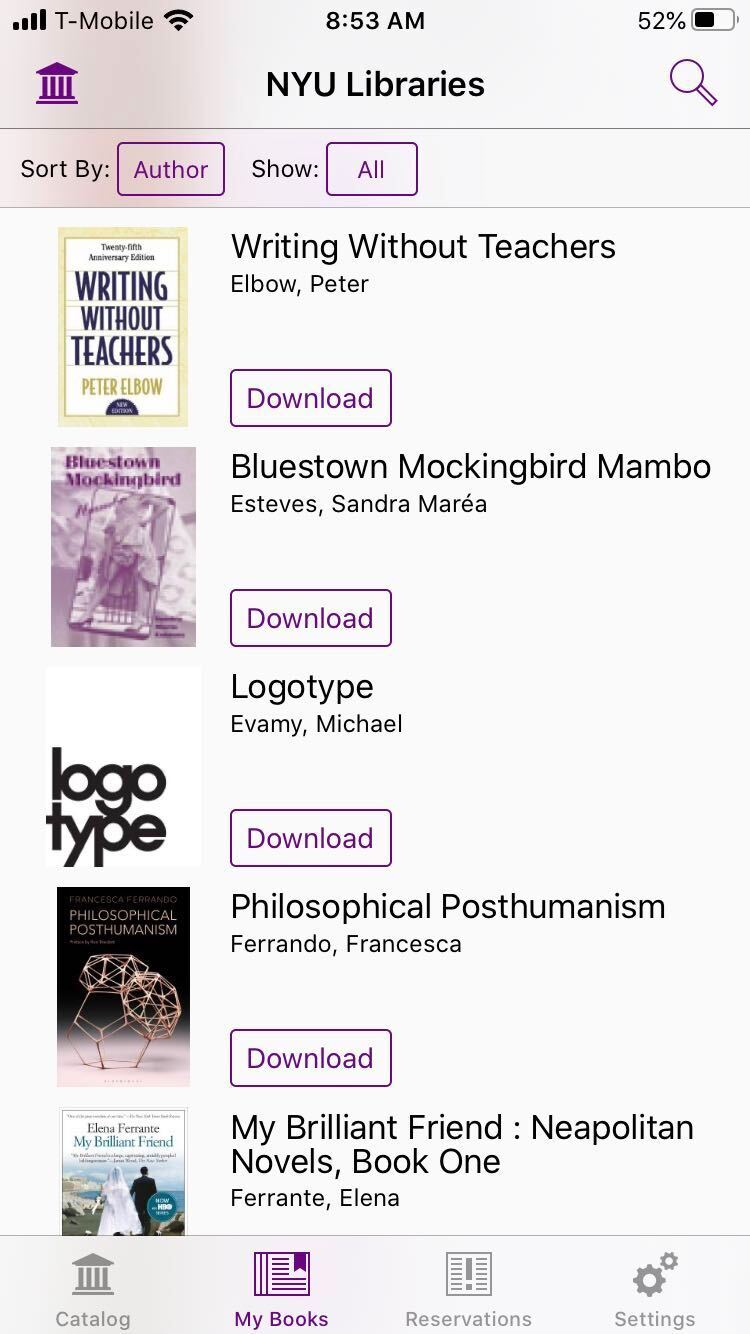 """Screenshot of the """"My Books"""" interface on the SimplyE mobile app. The record """"Writing without Teachers"""" displays in the bookshelf and is available for download within the app for reading."""