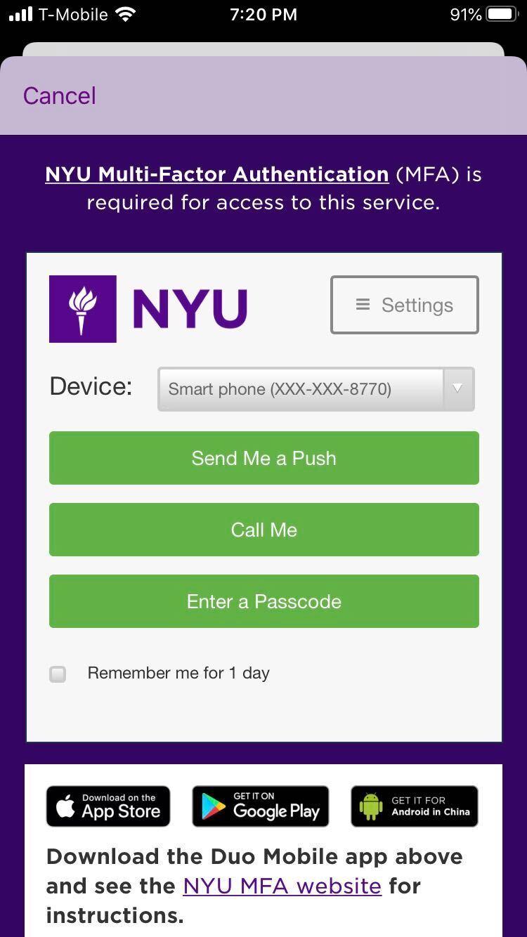 Screenshot of NYU Shibboleth login screen.