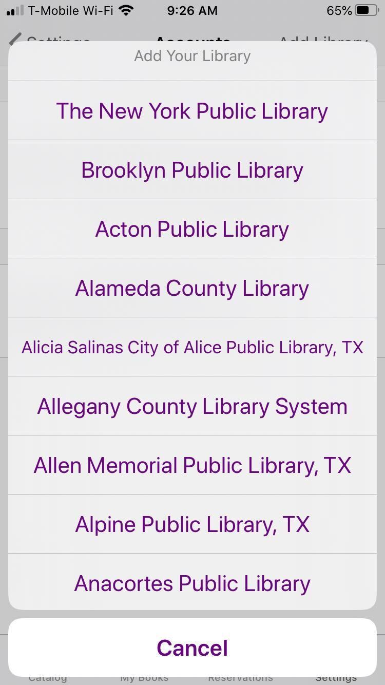 """Screenshot of the entire list of libraries available on SimplyE. The list can be accessed by clicking """"Add Library"""" on the top right corner."""