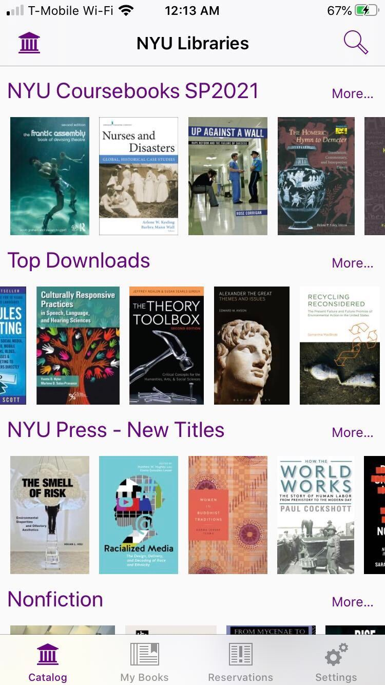 """Screenshot of homepage where you can browse books in categories organized in horizontal lanes. An example of a lane cateogory is """"NYU Press""""."""