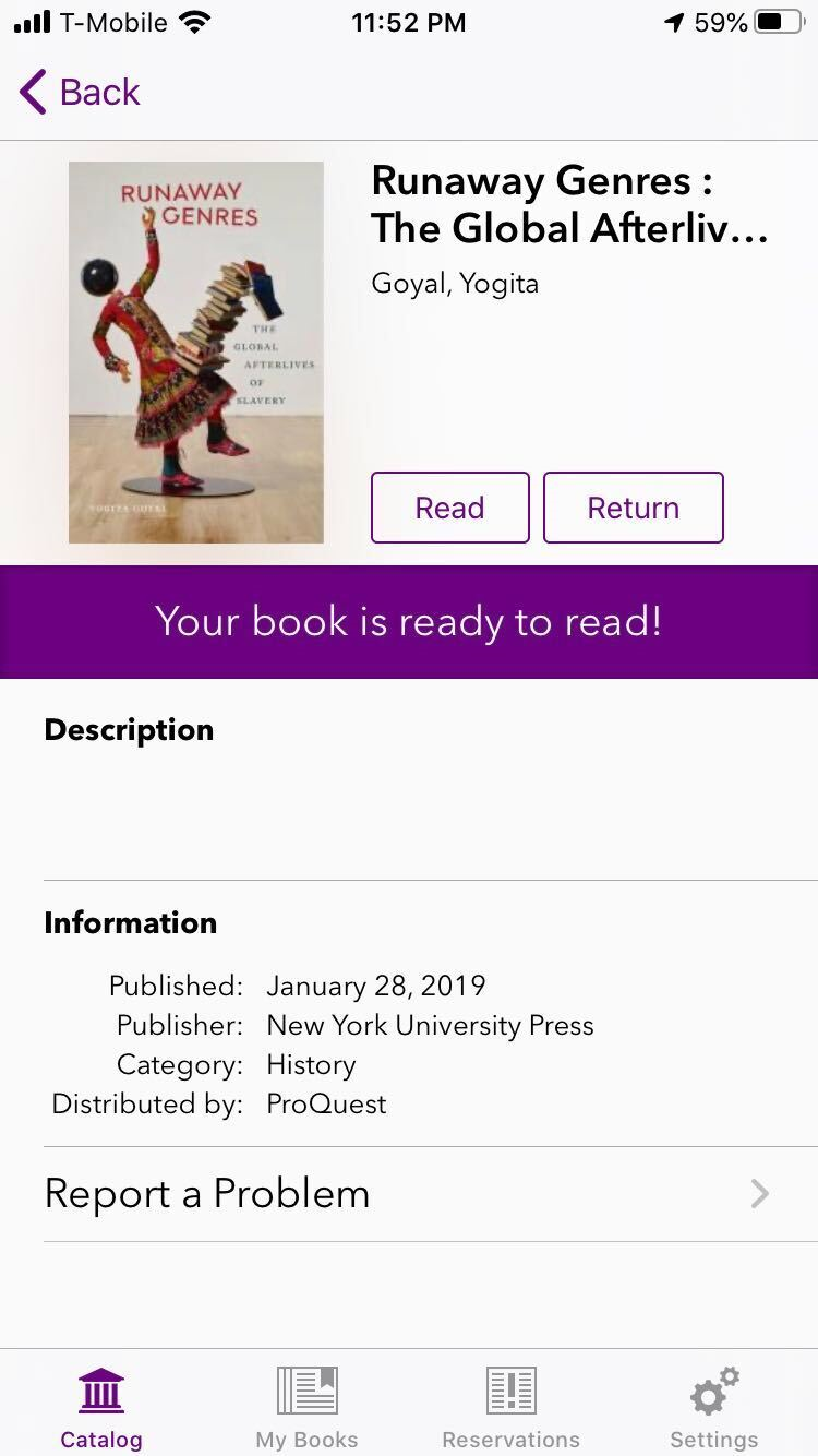 """Screenshot of the interface of a specific title, after you download the book. The screen displays the buttons """"Read"""" and """"Return""""."""