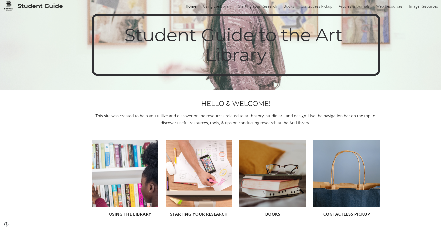 image of student guide to the art library