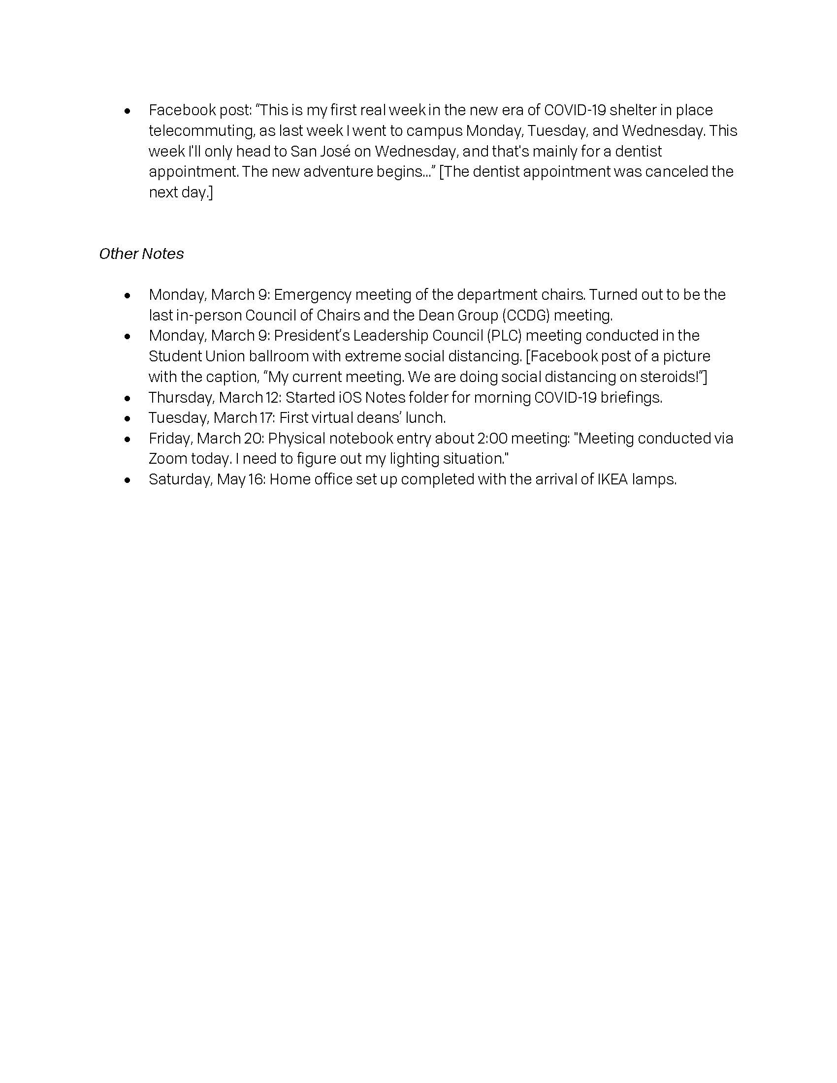 Page 3 of a textual document describing the author's COVID-19 experiences.