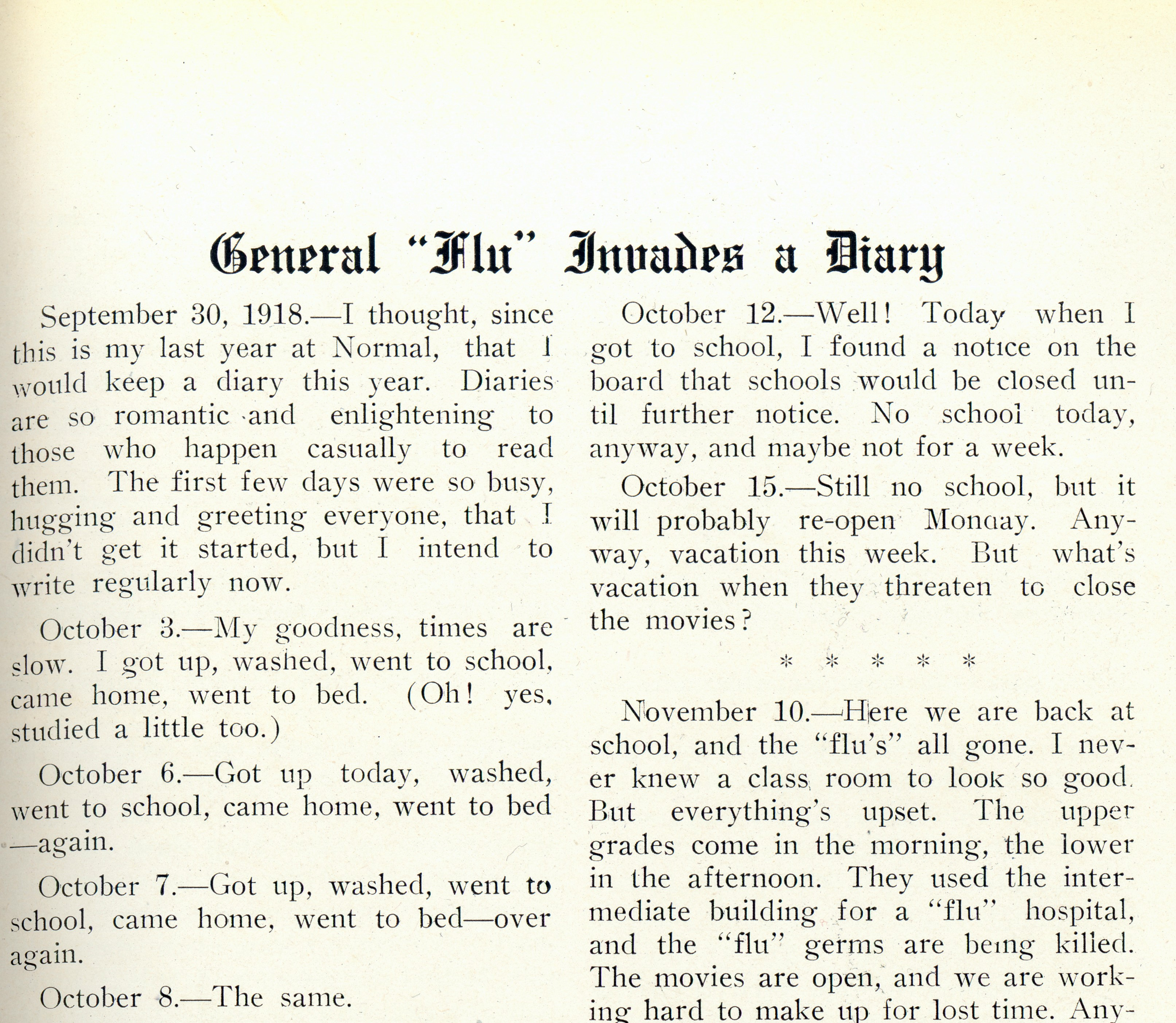 An excerpt of a page containing a reprint of a student's diary