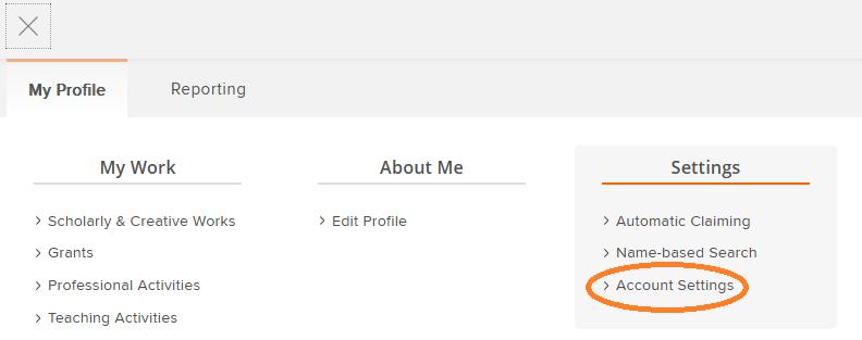 Screenshot of Account Settings in Menu